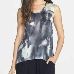 Eileen Fisher Ink Blot Print 100% Silk Medium EUC